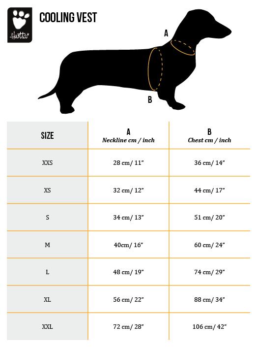 Size Chart Cooling Vest