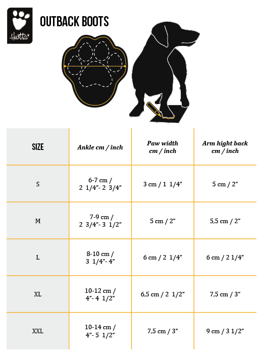 Hurtta Outback Boots Size Chart