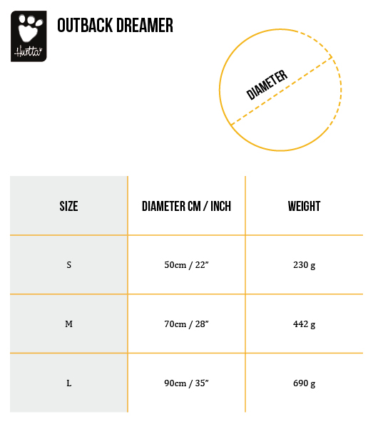 Outback Dreamer Size Chart