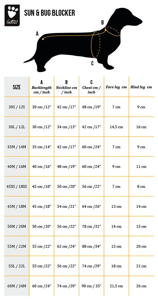 Size Chart Sun & Bug Blocker